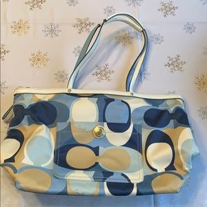 Blue and Beige Coach bag